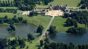 An aerial view in the sunshine of Blenheim Palace.