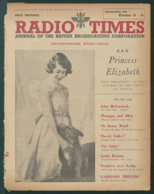 """Front cover: HRH Princess Elizabeth - promoting a broadcast to """"children of the Empire"""""""