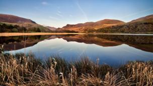 Reflections in the water at Llyn Nantlle, Gwynedd