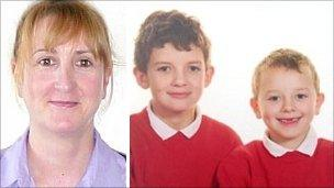 Heather Bickley and sons Oscar,10 and Felix, six, who died in a fire at their home at Tyn-y-Gongl, near Benllech, Anglesey