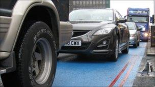 Lorries and cars in the Cycle Superhighway