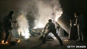 Workers at a uranium conversion facility near Isfahan, file image