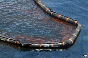 Boom in oil-polluted Gulf of Mexico (Image: AP)