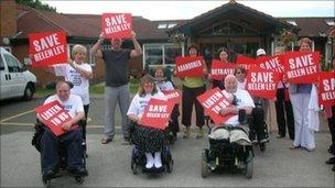 Campaigners outside Helen Ley centre