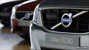 Volvo cars in showroom