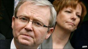 A file photo taken in December 2006, shows former Labor prime minister Kevin Rudd (L) and current prime minister Julia Gillard