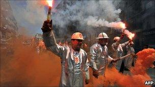 Iron and steel workers demonstrate in Marseille during a nationwide strike called by unions against the pension overhaul: June 24, 2010