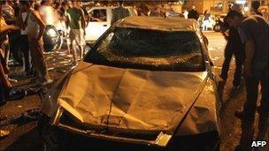 A vandalised Israeli police car in the village of Majdal Shams, 11 July