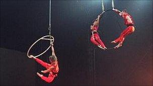 Circus performers at the Millennium Dome