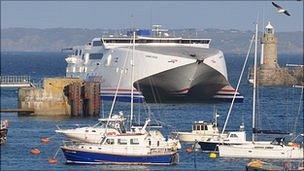 Condor Vitesse entering St Peter Port harbour