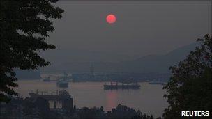 Smoke over Vancouver, British Columbia