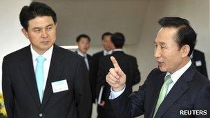 New South Korean PM Kim Tae-ho (l) and President Lee Myung-Bak (r)