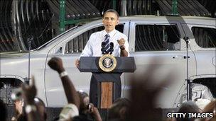 President Obama visiting a Chrysler factory two weeks ago