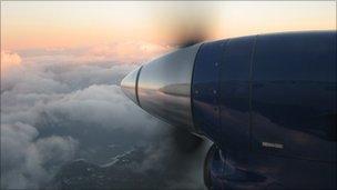 Engine of a Loganair aircraft