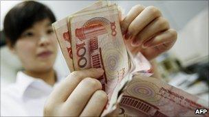Woman with money in China