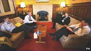 Sinn Fein's Gerry Adams and Martin McGuinness with Tony Blair and Jonathan Powell (L-R)