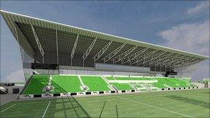 Computer images of the proposed stadium
