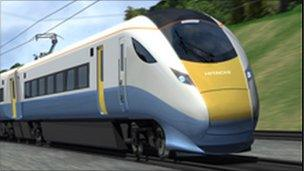 Computer-generated depiction of one of the new trains
