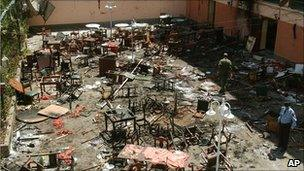 Scene of an explosion in Casablanca, Morocco, in 2003 when at least 40 people were killed in suicide bombings
