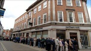 Queues at Northern Rock bank in York at the start of the credit crunch in 2007