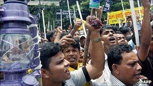 File photo of Bangladeshis protesting over power shortages, 2006