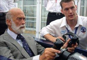 HRH Prince Michael tries out the Bloodhound simulator