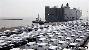 German cars awaiting export