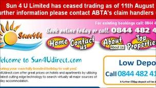 Sun4U web page with banner announcing the company has ceased trading