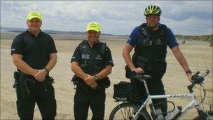 Beach patrol officers on Camber beach