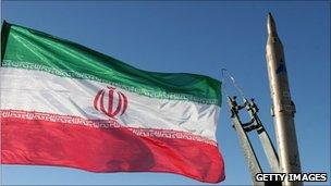Iranian flag and missile