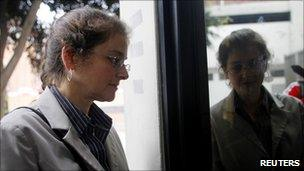 Lori Berenson arrives for a parole hearing on 16 August 2010