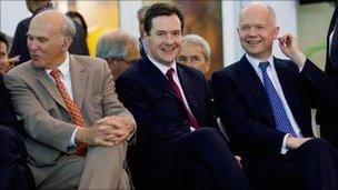 Vince Cable, George Osborne and William Hague