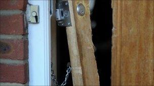 Door broken during the raid