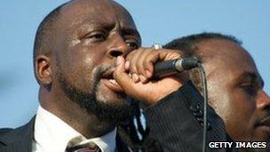 Wyclef Jean speaking after filing his papers to run for president on 5 August