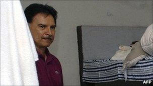 Handout picture released by the Guatemalan Ministry of Government showing former Guatemalan President Alfonso Portillo in a military prison