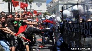 Protestors in Greece