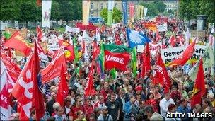 German workers protest the Greek bailout