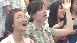 Worshippers at Haidian church, Beijing