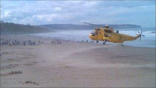 RAF rescue helicopter at Whitby