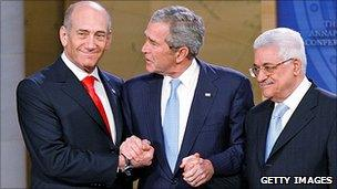 Olmert, Bush and Abbas at Annapolis conference in 2007