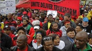 Civil servants protest during a strike in the city of Cape Town, South Africa, Thursday 26 August 2010
