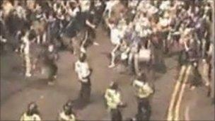 CCTV footage of fans attacking police (GMP)
