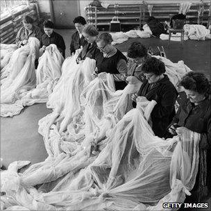 Checking lace in a factory, 1959