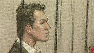 Court sketch of Daniel Houghton