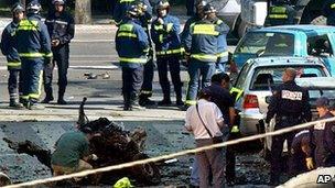 Aftermath of ETA car bomb in Madrid, May 2005