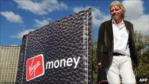 Richard Branson with Virgin Money logo
