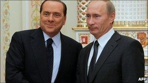 Italian PM Silvio Berlusconi and Russian PM Vladimir Putin in Novo-Ogarevo, Russia (10 Sept 2010)