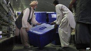 Afghan election workers in Kabul load ballot materials on a lorry to be transported to polling stations. Photo: 14 September 2010