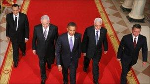 Leaders resume Middle East peace talks at the White House, September 2010