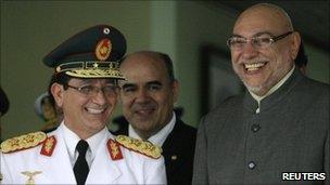 President Fernando Lugo and his new armed forces commander, Gen Benicio Melgarejo